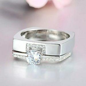 Luxury Female Zircon Double Ring